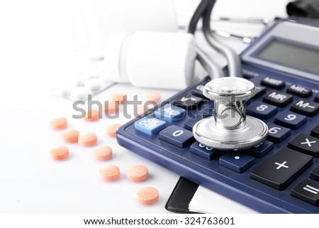 Blood pressure meter and stethoscope, isolated on white background - stock photo