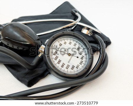 Blood pressure meter medical equipment CE Euro standart / partly out of focus focus on the manometer     - stock photo