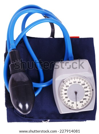 Blood pressure meter medical equipment isolated on white background - stock photo