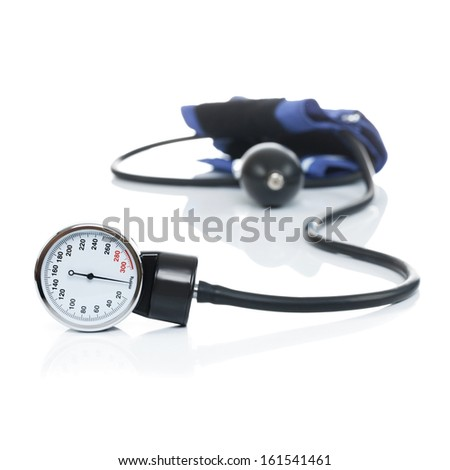 Blood pressure meter medical equipment isolated on white - studio shot