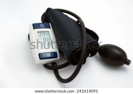 Blood pressure meter medical on white background. Hypertension - stock photo