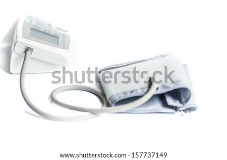 Blood pressure meter showing a normal blood pressure - stock photo
