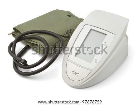 blood pressure monitor against white background