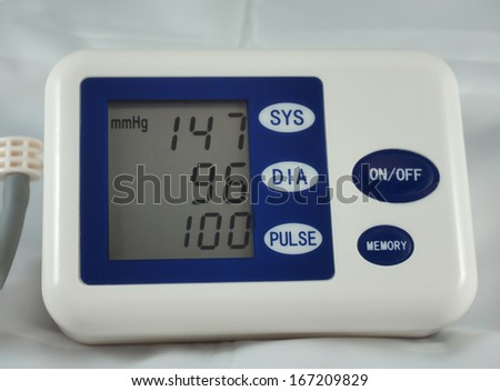 Blood pressure monitor indicating heightened  pressure level