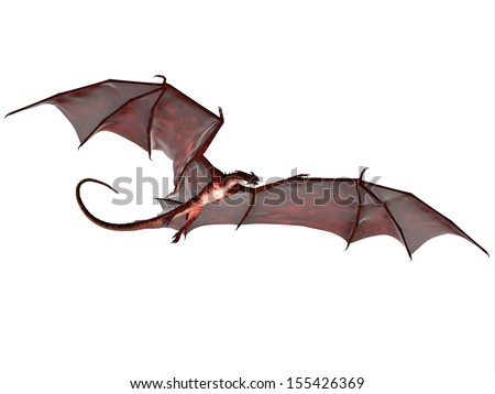 Blood Red Dragon - A creature of myth and fantasy the dragon is a fierce flying monster with horns and large teeth. - stock photo
