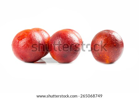 Blood-red orange on a white background