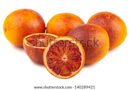 Blood red oranges isolated on a white background