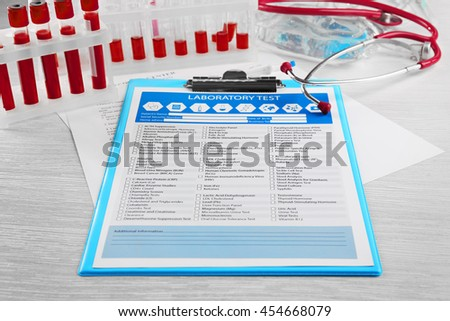 Blood samples with laboratory test