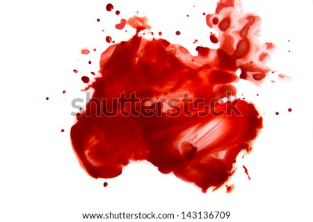 Blood smear droplets (stains, splatter) isolated on white background close up - stock photo