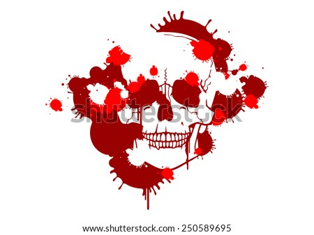 Blood smudges creating a skull silhouette (raster version) - stock photo