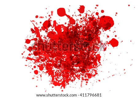 blood splash illustration on white, killing murder concept.