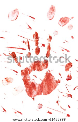 Blood splatter and fingerprints isolated on a white background.