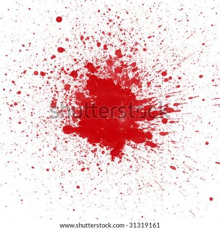 Blood splatter on white background - stock photo
