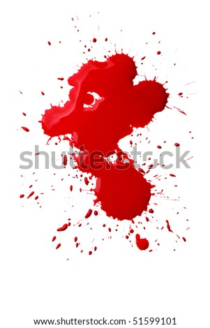 Blood splatters isolated over the white background