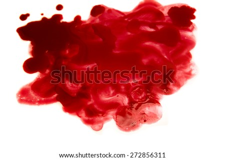 Blood stains (puddle, smear) isolated on white background close up, horizontal - stock photo