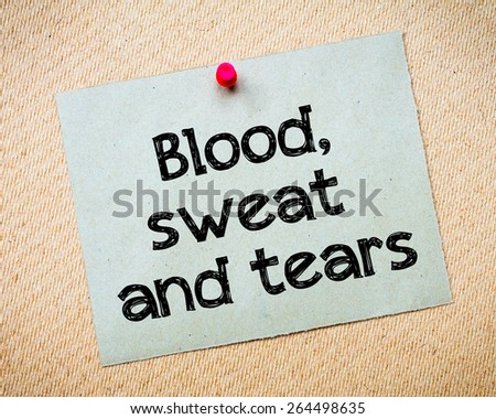 blood toil tears and sweat essay Blood, sweat, and tears: a historical/biographical analysis of hurston's sweat- the purpose of any literary work is to convey an idea or concept to its audience often the message is one that is directly reflective upon the life of the writer the context of the piece, the period of time .