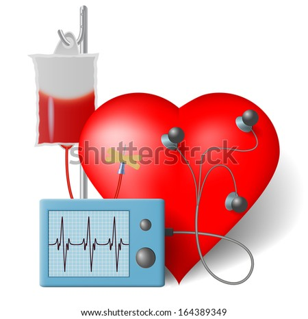 Blood transfusion flowing to heart and cardiac monitor, Raster version - stock photo