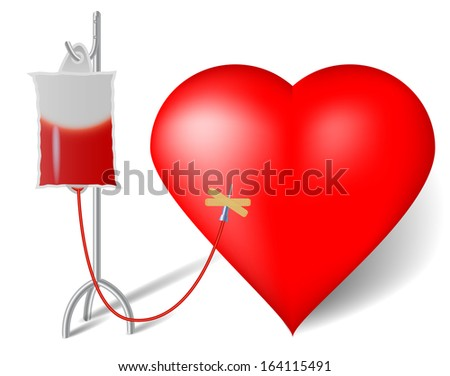 Blood transfusion flowing to heart, Raster version - stock photo