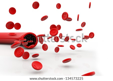 Blood vein with red blood cells isolated on white - stock photo