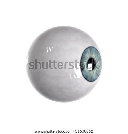 Bloodshot green blue Eyeball. Sideview - stock photo