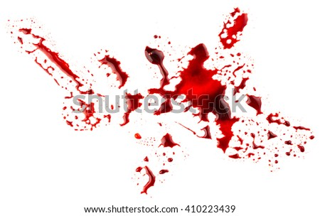 Bloodstains isolated on white background