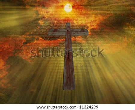 Bloody Cross Floats in Sky with New Testament in Latin - stock photo