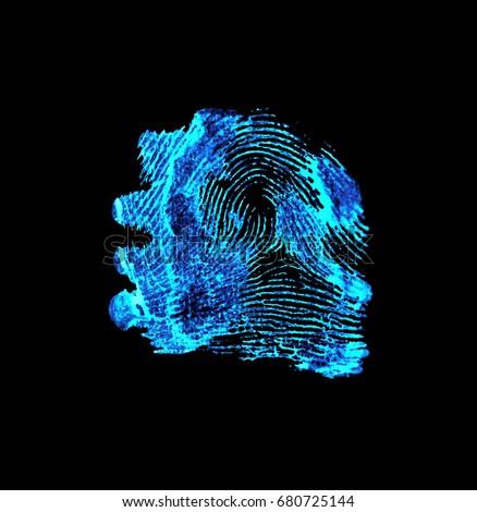 Bloody Fingerprint With Ultraviolet Lamp