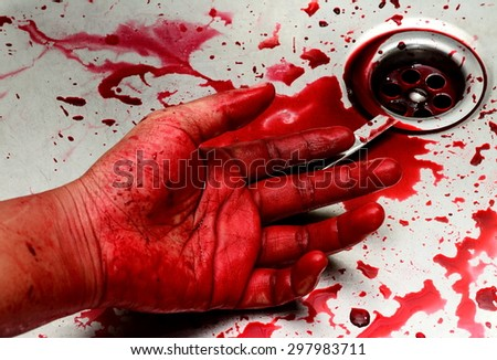 Bloody hand and box cutter in sink with flowing red blood. Murder concept background - stock photo
