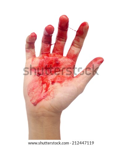 Bloody hand on white background. - stock photo