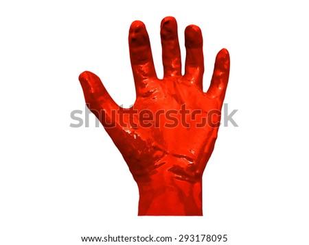 Bloody hand symbolizing injury or crime, Hand blood background. - stock photo