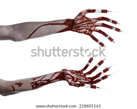 Bloody hand with syringe on the fingers, toes syringes, hand syringes, horrible bloody hand, halloween theme, zombie doctor, white background, isolated