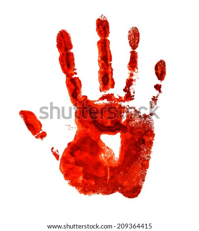 Bloody handprint isolated on a white background - stock photo