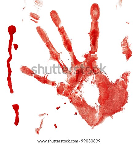 Bloody handprint with drop isolated on a white background - stock photo