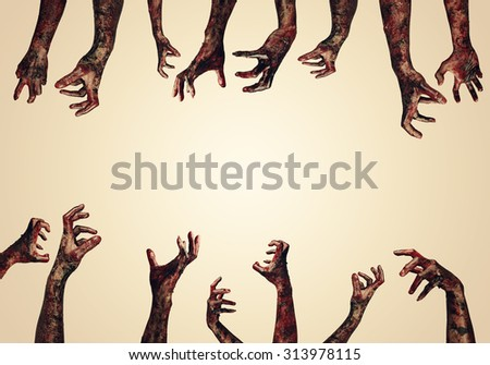 Bloody hands background,maniac,Blood zombie hands, zombie theme, halloween theme - stock photo