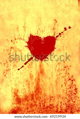Bloody heart on old paper - stock photo