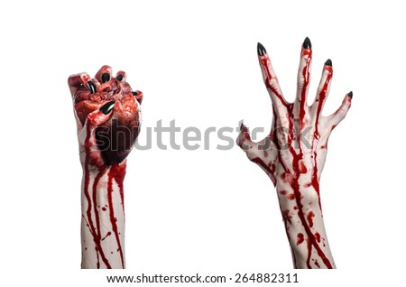 Bloody horror and Halloween theme: Terrible bloody hands with black nails holding a bloody human heart on a white background isolated background in studio - stock photo