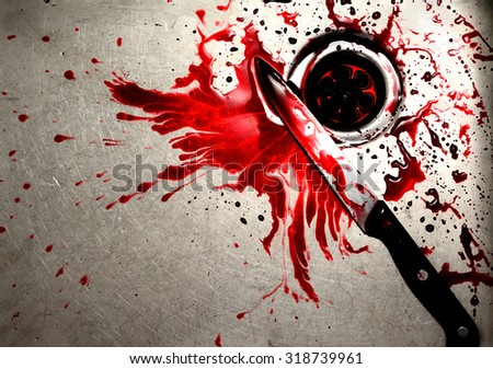 Bloody knife in sink with flowing red blood. Murder and halloween concept background - stock photo