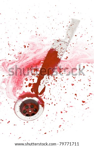 Bloody knife in the shower with blood flowing into the drain - stock photo