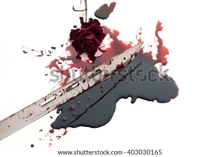 Bloody knife  with flowing red blood. Murder concept background - stock photo