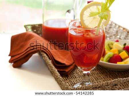 Bloody marry with fruit - stock photo