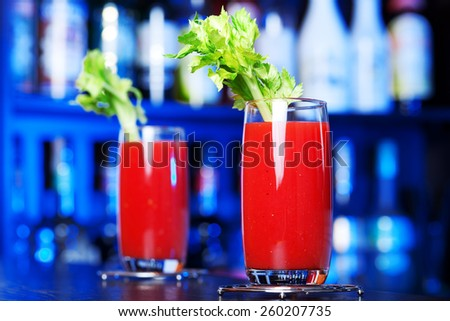 Bloody Mary cocktail on a bar counter - stock photo
