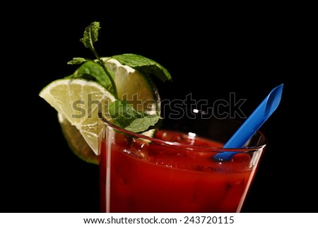 bloody mary fresh Cocktail isolated on black, studio - stock photo