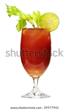 Bloody mary in glass isolated on white background with celery stalk - stock photo