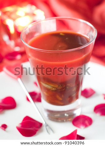 BloodY Mary or tomato juice with oyster, selective focus