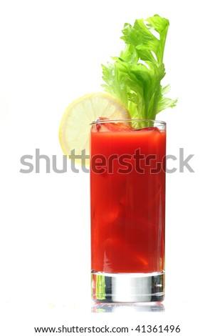 bloody mary with lemon wedge, isolated on white - stock photo
