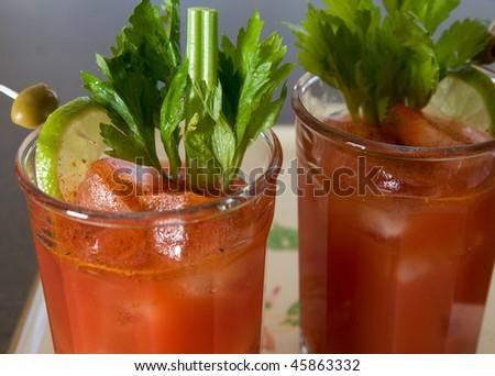 Bloody Marys, close up - stock photo