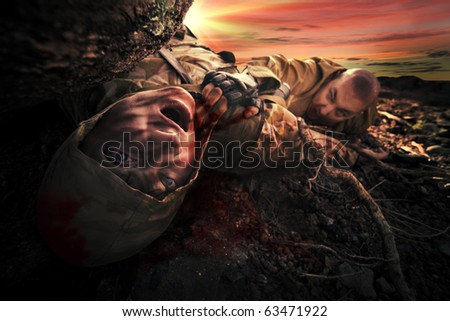 Bloody monster near soldier's dead body. Apocalypse background - stock photo