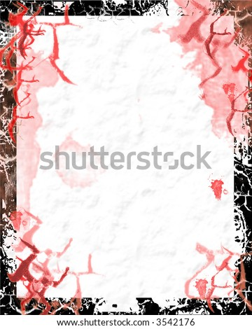 Bloody paper with grunge border - digital illustration - stock photo