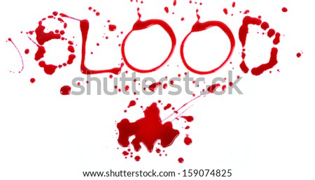 Bloody print on a white background with the letters BLOOD