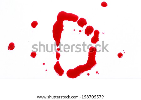 Bloody print on a white background with the letters D